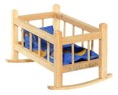 Puppenwiege Puppenwippe Puppenmöbel Holz mit Bettwäsche Puppenbett NEU