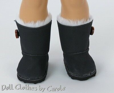 "Black Fur Lined Boots fit 18"" American Girl - Clothes"