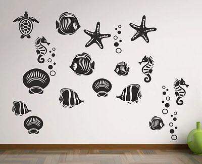 Wandtattoo Wandaufkleber Aufkleber Bad WC Tattoo 28x Fische Krebs Muschel See 23
