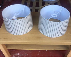 Set of two Cream lampshades.