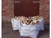 3x1ton bulk bags of dry seasoned hardwood firewood logs with free delivery and stacking £140
