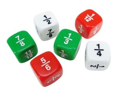 Fraction Dice Set (New Set of Six 16mm Fraction Dice - White Green Red - Great for Educational Use )