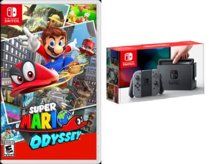 Nintendo Switch + Super Mario Odyssey + Carry Case