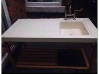 Large sink and draining board