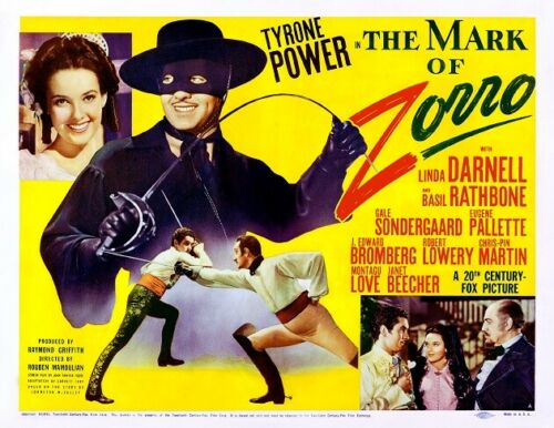 THE MARK OF ZORRO With TYRONE POWER And LINDA DARNELL 11x14 TC Print 1940
