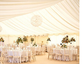 Marquee Hire in Kent. 6m x 10m Marquee with Full Lining, Cream Carpet and Chandelier £750