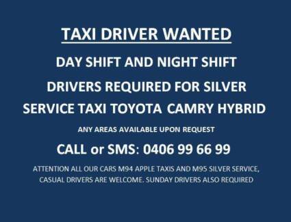 Taxi Drivers wanted silver service  hybrid Day and Night Greenacre Bankstown Area Preview