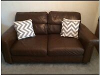 NEXT brown leather couch
