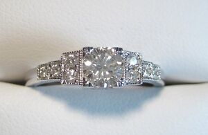 New 30's-40's Style 14K Diamond Ring in White Gold