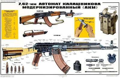 *HUGE Color Poster Soviet Russian USSR AKM AK-47 7.62 Kalashnikov MAN CAVE BUY!! for sale  Shipping to Canada