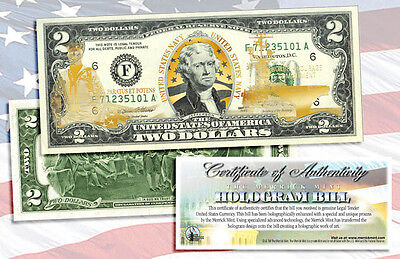 U.S. NAVY $2 **LASER  GOLD HOLOGRAM COLORIZED 2 DOLLAR U.S.A GIFT LEGAL  BILL