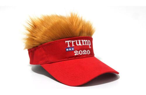 President Donald TRUMP 2020 Red Trumpy Visor Hat w/Gold Hair Golf Cap Wig MAGA
