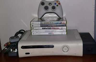Xbox 360 60gb Console Complete With All Wires + Controller And 5 Games