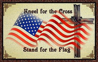 (The Cross & Flag)   sign, flag, Cross, kneel, stand, pray, wall decor, hardwood
