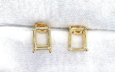(14Kt Gold Pair 6x4 6mm x 4mm Emerald Earring Prenotched Gemstone Gem Mounting)