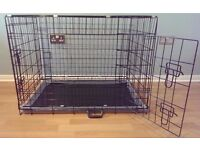"Dog Crate / Puppy Cage 36"" Large Black With Metal Tray NEW"