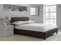 Brown Leather Double Bed Frame - Excellent Condition