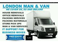 Man and van hire house office flat removals service ikea delivery Essex London UK