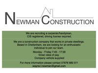 Newman Construction are looking to recruit a Carpenter/handyman. Full time.