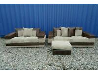 Gorgeous Jumbo Cord 3+2 Seater Sofas+Footstool *Like New*
