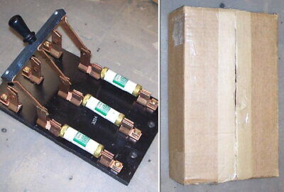 Vintage Box Large 100 Amp Knife Switch Electrical Circuit Frankenstein W Fuses