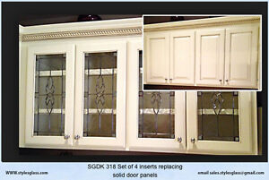 Glass Cabinet door inserts made to fit your door New & Existing