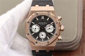 Audemars Piguet Royal Oak Chronograph 26331 RG Black Dial Leather Strap