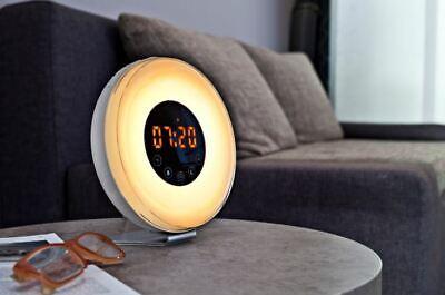 Lichtwecker mit USB-Ladeanschluss 12/24 Stunden Anzeige Naturgeräusche LED UKW ()