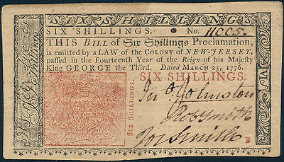 NJ-178 NJ COLONIAL CURRENCY 6 SHILLINGS 3-25-1776 GEM UNC ISSUED BP8908