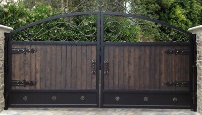 WROUGHT IRON HAND MADE DRIVEWAY DOUBLE SWING GATES  MADE TO MEASURE