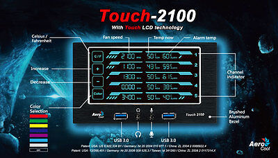 Aerocool En51965 Touch-2100 Touch Fan Controller TOUCH2100 New