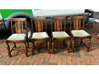 Set of 4 solid wood retro vintage dining chairs CAN DELIVER