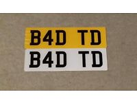 B4 DTD dvla private number plate registration cherished number select BAD TD