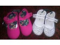 2 pairs of size 9 girls shoes leopard print and pink