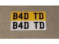 B4 DTD dvla private number plate registration cherished number select BAD TD