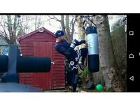 Punching bag. Pro Power. About 30kg. Used with all equipment. Hanger and gloves.
