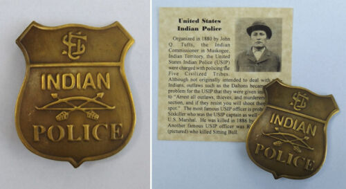 United States Indian Police, old west, US, U.S. USIP, antiqued brass, badge