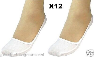 12 Pairs Womens WHITE Hidden Foot No Show Liner Socks Ped Boat Cotton - White Sock Liner