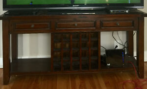 Large solid TV console / wine rack