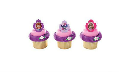 Sofia the First Princess cupcake rings (24) party favor cake topper 2 dozen  - Sofia The First Cupcake Cake