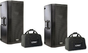 "QSC K12 12"" ACTIVE SPEAKER PAIR WITH QSC TOTES -"