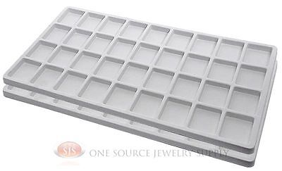 2 White Insert Tray Liners W 36 Compartments Drawer Organizer Jewelry Displays