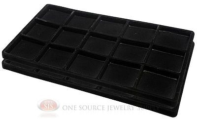 2 Black Insert Tray Liners W/ 15 Compartments Drawer Organizer Jewelry Displays