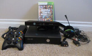 XBOX 360 slim with Kinect & two controllers Regina Regina Area image 1