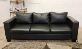 Ex Display 3 Seater Black Leather Sofa