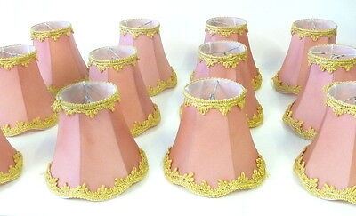 12 Lampenschirme/Klemmschirme aus Stoff f.Kronleuchter-Tischleuchter-Wandleuchte