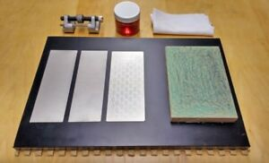 Chisel and plane sharpening setup with 3 diamond plates