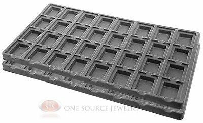 2 Gray Insert Tray Liners W 32 Compartments Earrings Organizer Jewelry Display