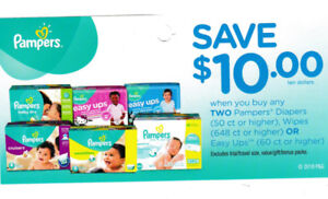 Coupons PAMPERS Diapers Wipes Easy Ups