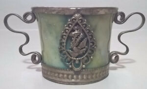 Vintage Rare Chinese Marble Tea Cup With Silver